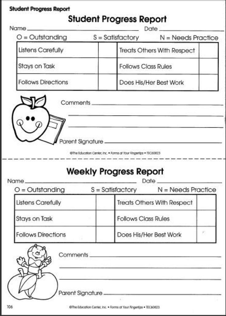 student progress report template pdf