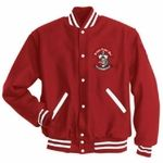 This Fraternity or Sorority Jacket is made from 24oz. Melton Wool�Genuine leather sleeves and pocket welts�Quilted lining�Full-snap front�High quality rib-trim collar, cuffs, and bottom hem�Easy-entry front pockets�Made in USAOUR JACKETS ARE UNISEX UNLESS NOTED.