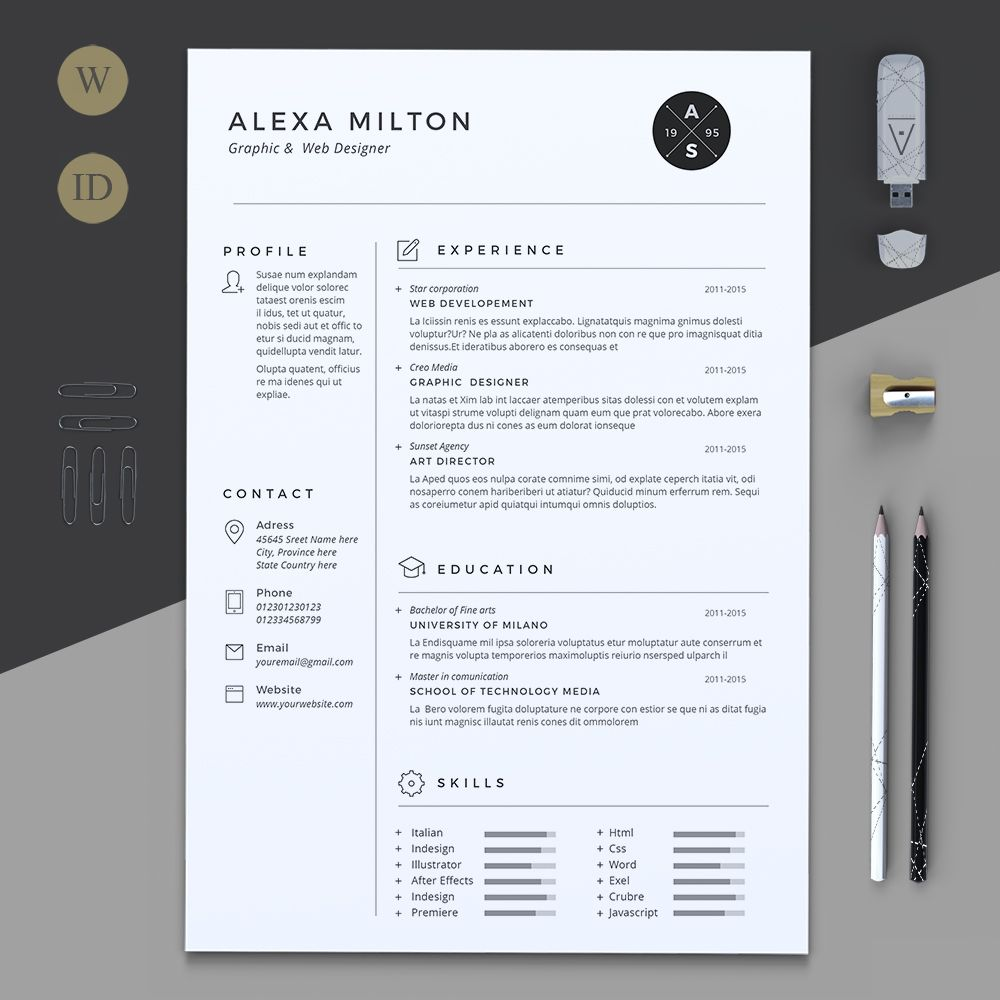 2 pages resume by estartshop on  creativemarket
