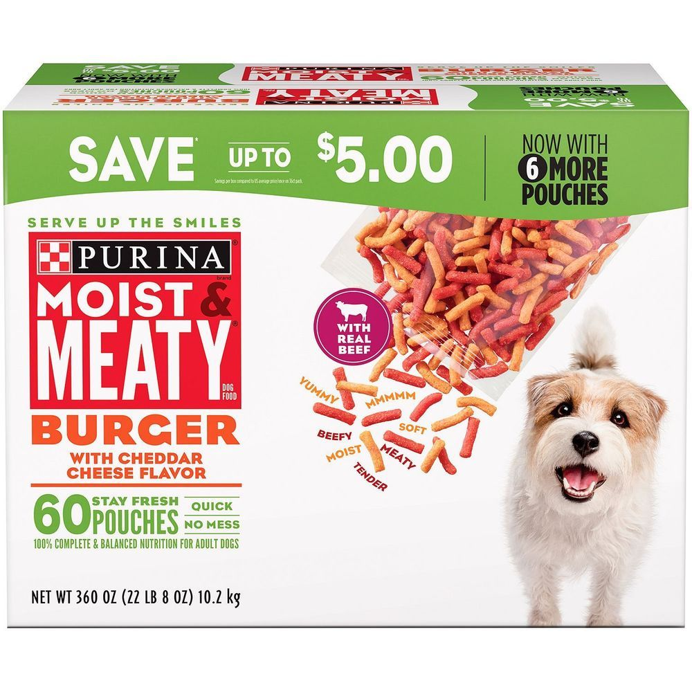 Purina Moist And Meaty Adult Dog Food Burger Made With Real Beef