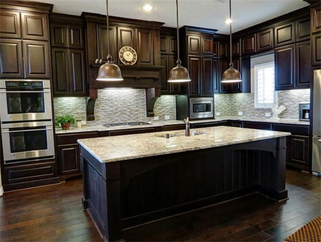 Stunning 9+ Dark Wood Kitchen Cabinets Design Ideas for Awesome ...
