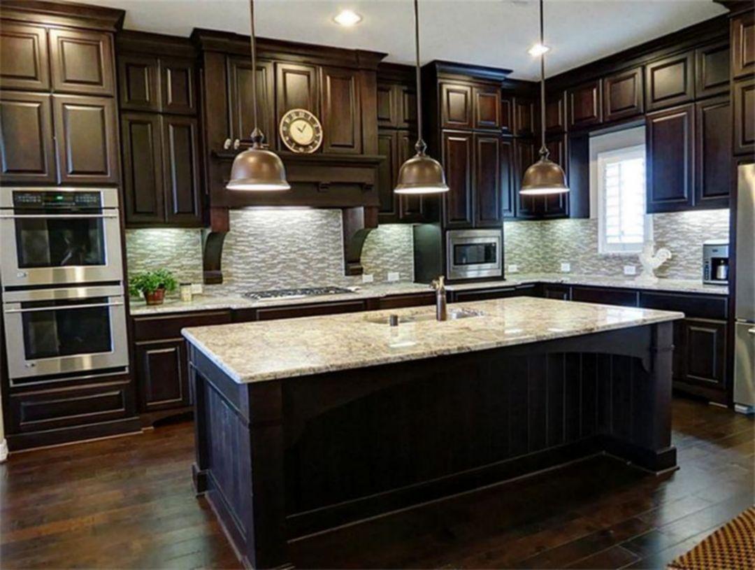 Epic Stunning 9+ Dark Wood Kitchen Cabinets Design Ideas for ...