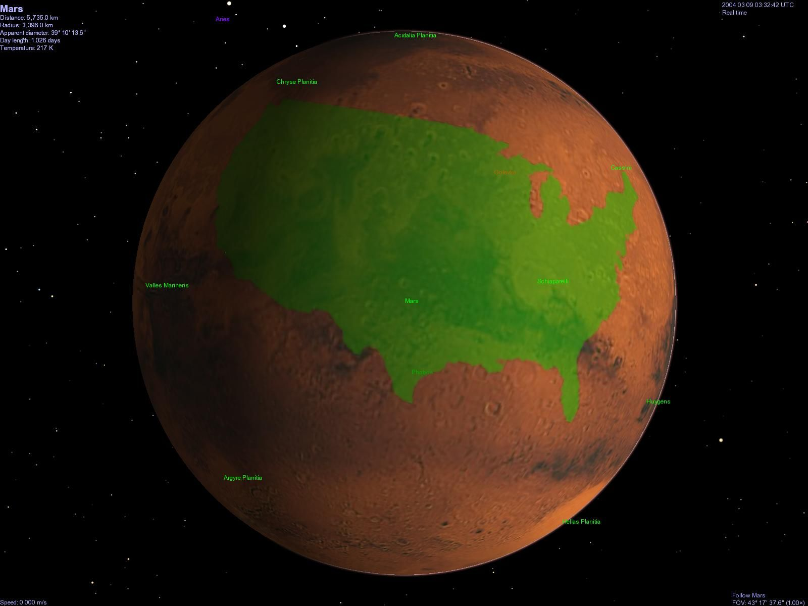 earth mars comparison | Mars compared to the U.S.] Grant Hutchison's Size Comparison Maps for ...