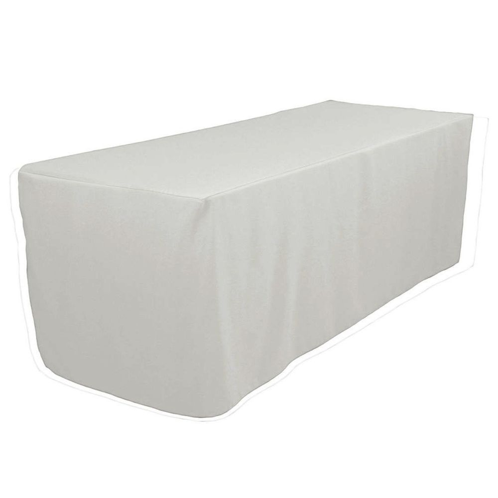 a4ea28a7d4ed 6  Ft Fitted Polyester Tablecloth Wedding Banquet Event Table Cover - WHITE