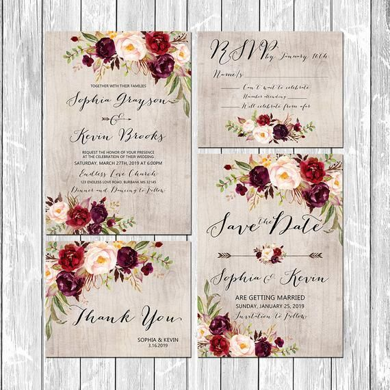 Printable Rustic Wedding Burgundy Purple Pink Invitation set wood background Wedding Invites  Printable Rustic Wedding Burgundy Purple Pink Invitation set wood background...