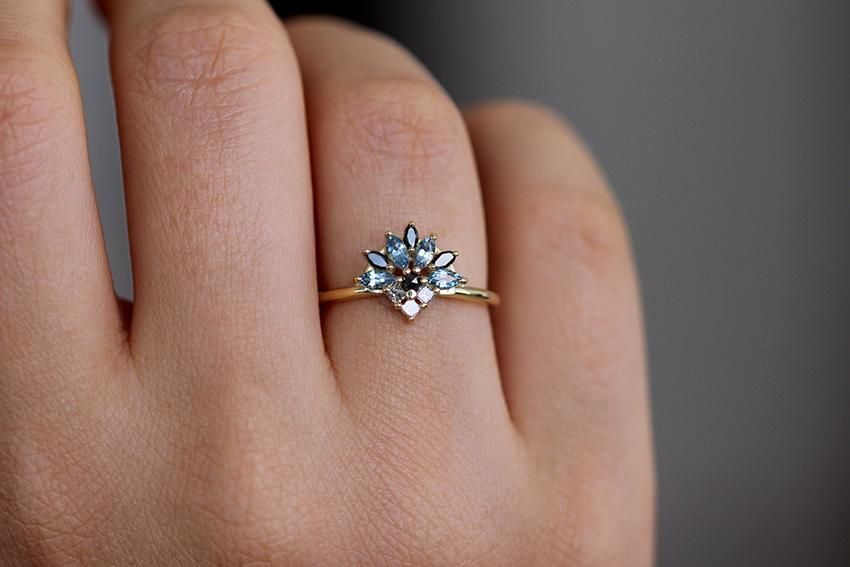 Aquamarine Engagement Ring - Aquamarine And Diamond Cluster Ring #aquamarineengagementring