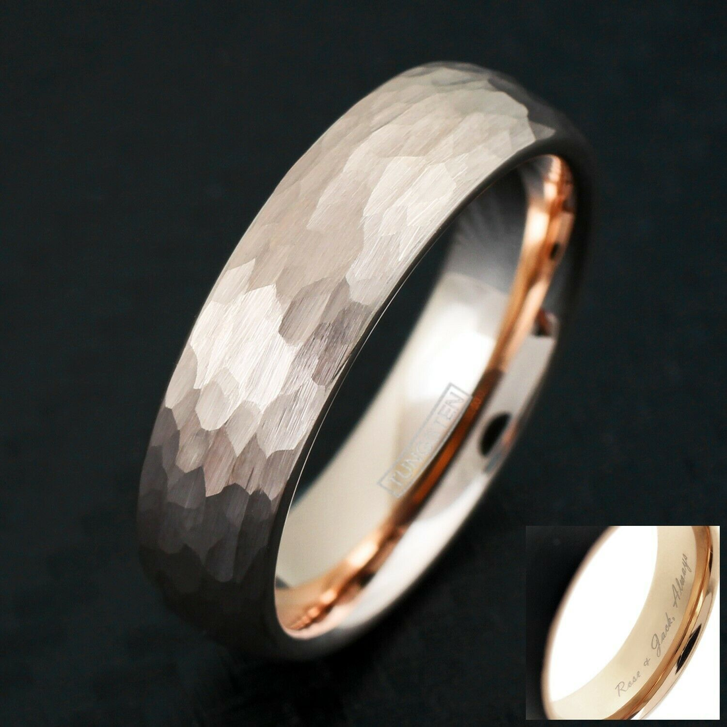 Engraved Rose Gold Tungsten Hammered Brushed Finish Wedding Band Ring 4mm Or 6mm In 2020 Hammered Gold Wedding Band Mens Wedding Bands Hammered Rose Gold Tungsten