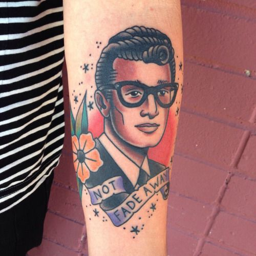 American Traditional Style Portrait Of Buddy Holly I Made Michaelwilliamstattoos Com Traditional Tattoo Portrait Music Tattoos Tattoos