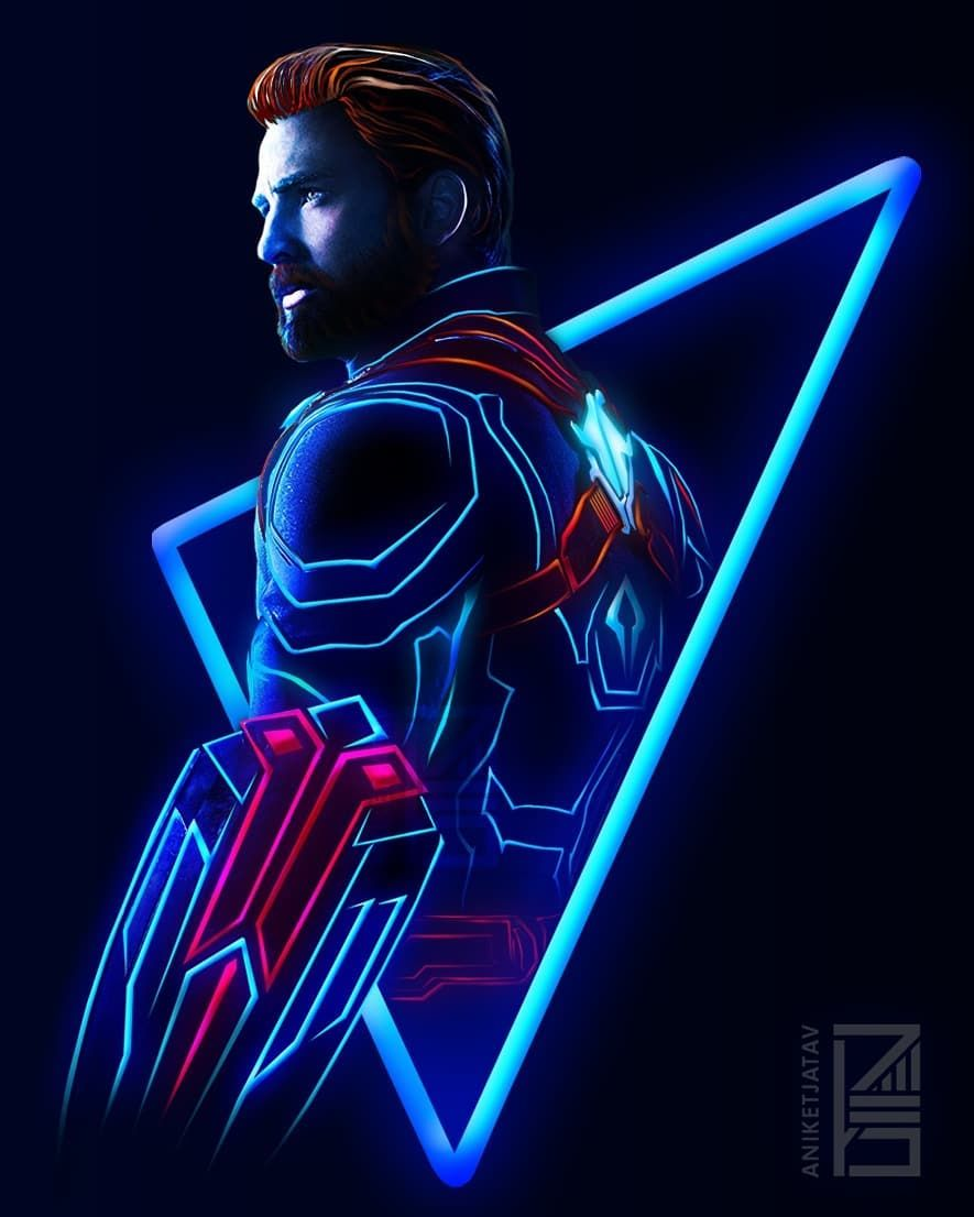 96 365 neon marvels artwork 51 good ol cap had to do this because we on the roadtoinfinitywar based on the new released posters  [ 885 x 1106 Pixel ]