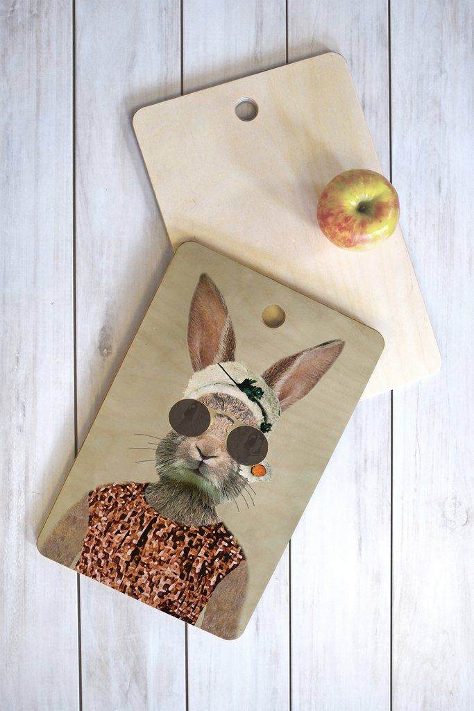 Coco de Paris Vintage Lady Rabbit Cutting Board Rectangle | DENY Designs Home Accessories