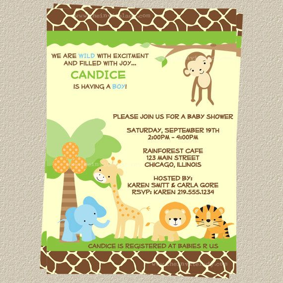 jungle, baby shower, invitations, safari animals, gender neutral,