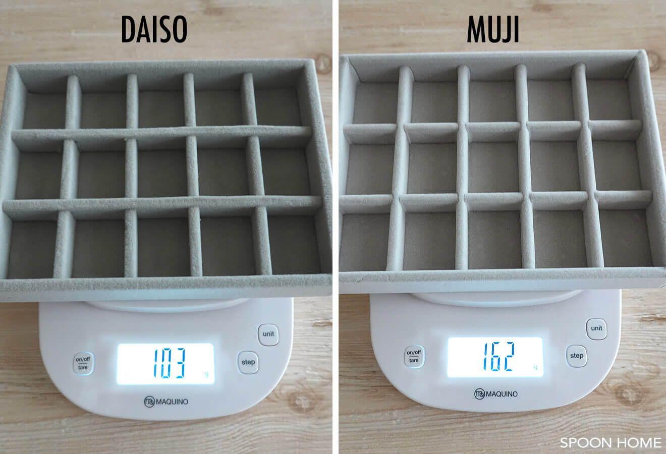 100均ダイソーのアクセサリートレイ収納例 無印良品 ベロア内箱仕切