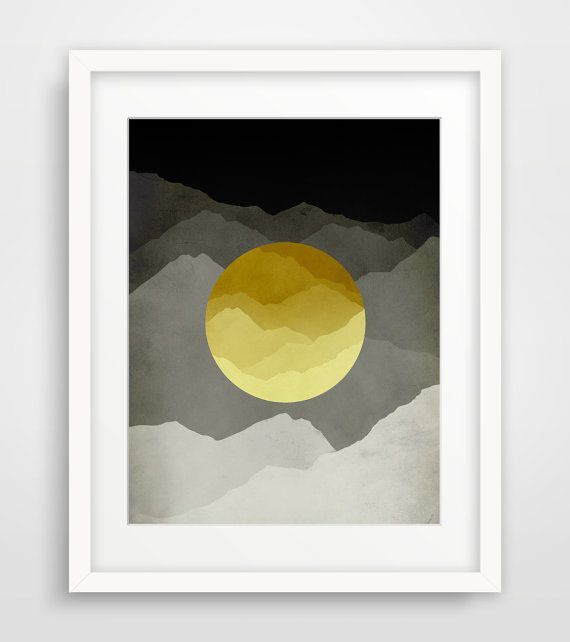 Mid Century Modern Wall Art Mountain Art Large Abstract Wall Art ...