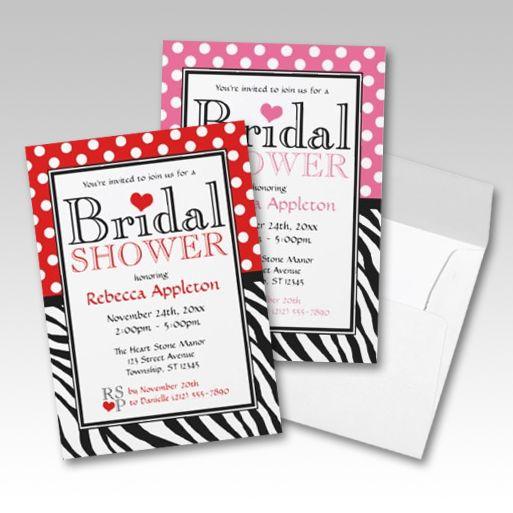 Polka dot and zebra print bridal shower invitations 7 color polka dot and zebra print bridal shower invitations 7 color options filmwisefo Image collections