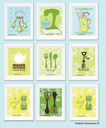 personalized kitchen print set kitchen art by Freshline on Etsy ...