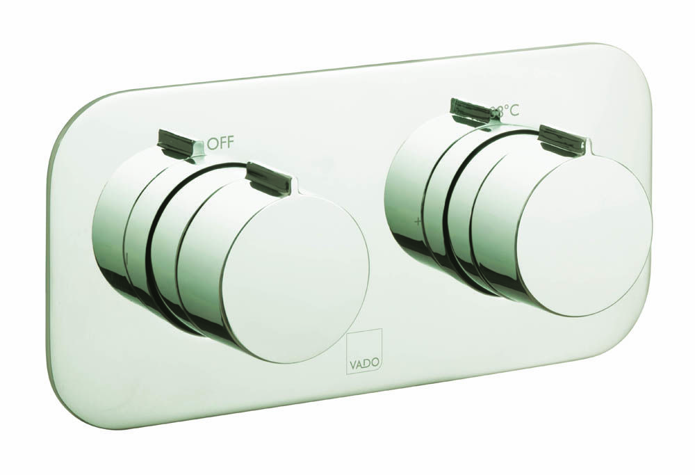 Tablet thermostatic shower valve by VADO available in bright nickel from the Individual collection.