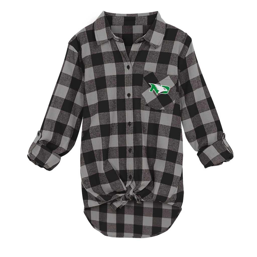 db306ff8f93f Juniors' North Dakota Fighting Hawks Spirit Week Tie-Front Flannel Shirt,  Size: Medium, Black