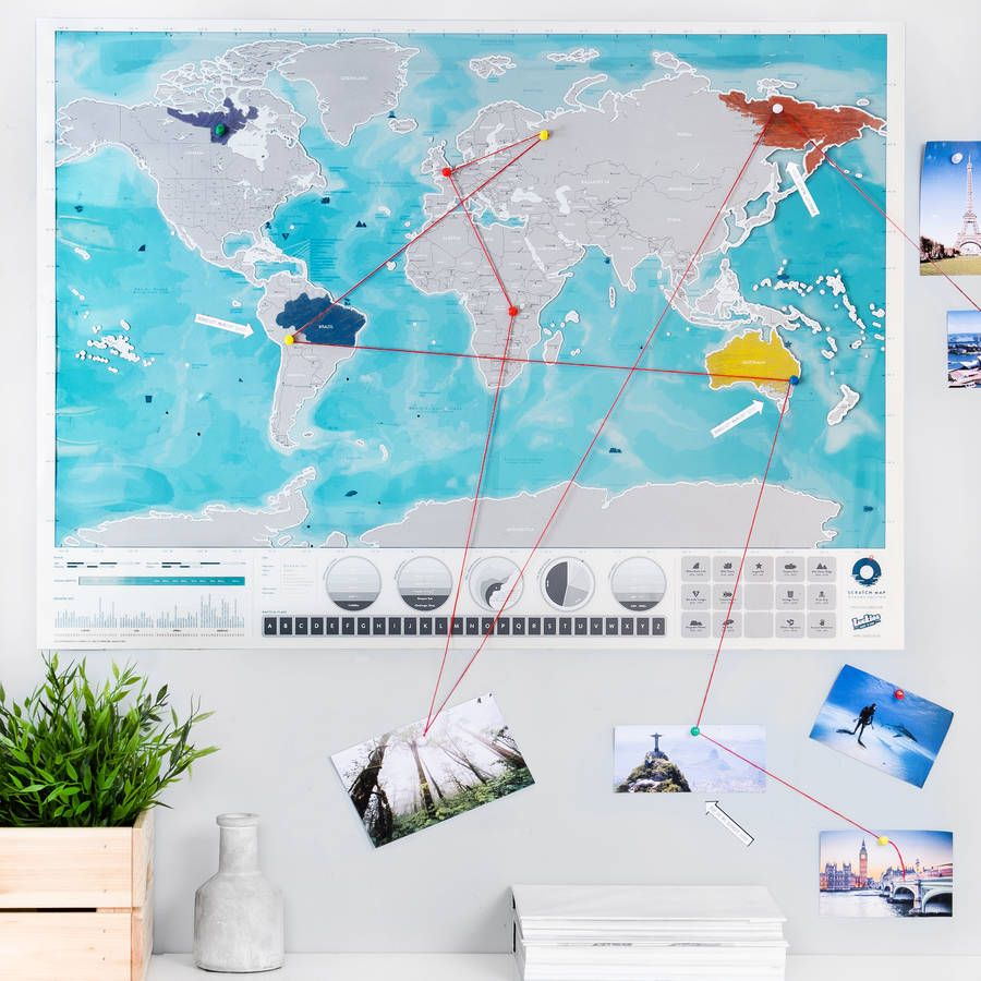 Scratch Off Push Pin World Oceans Map Bundle Ocean Office - World map poster push pins