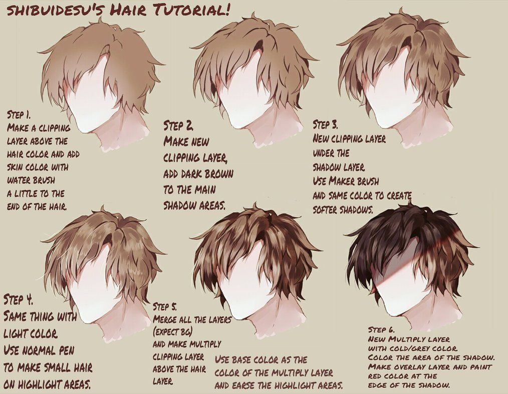 Hair Tutorial By Shibuidesu Digital Art Beginner Anime Hair Anime Boy Hair