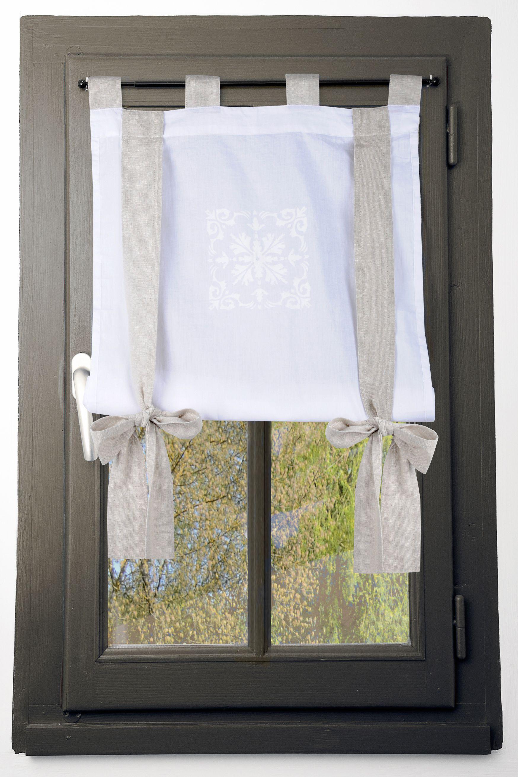rideau vitrage motif baroque blanc avec
