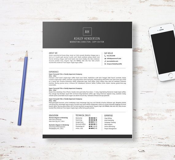 Resume Template 2pk Cover Letter Template, Custom Resume Design - Copy Editor Resume