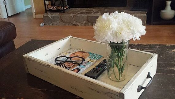 Rustic Coffee Table Catch All Box Distressed Table Tray Vintage