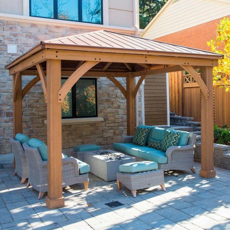 12 X 12 Wood Gazebo Heavy Duty Outdoor Aluminum Roof For Patio Sets Hot Tubs Spa Backyard Gazebo Pergola Patio Pergola