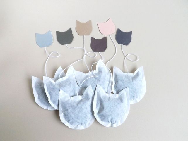 Cat Shaped Tea Bags set of 6, unusual gift for Cat Lovers, GREY Tags