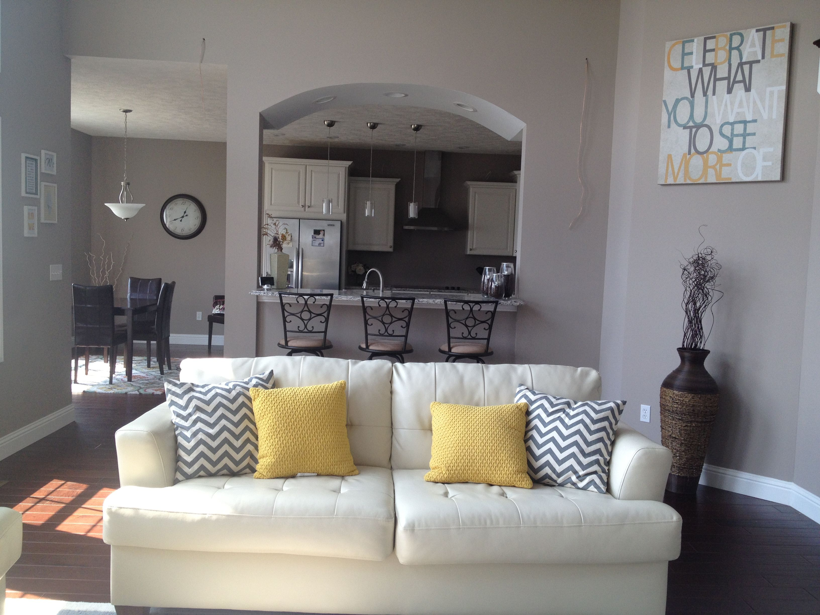 Yellow And Gray Living Room Chevron Pillows Trellis Rug Archway Bar And Kitchen Living