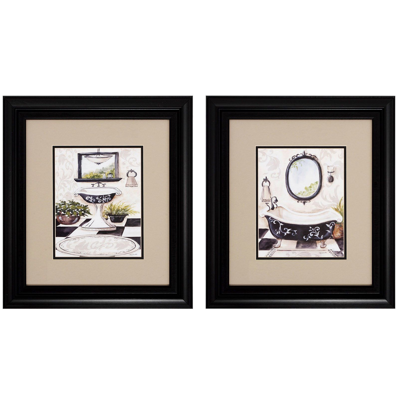 Have To Have It Black And White Bathroom Framed Wall Art Set Of 2 17w X 19h In Ea 59 Painting Frames Framed Wall Art Sets Bathroom Art