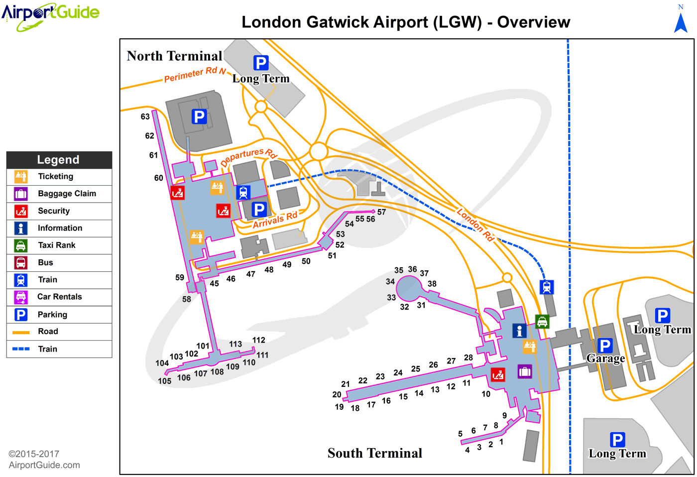 map gatwick north terminal London London Gatwick Lgw Airport Terminal Map Overview map gatwick north terminal