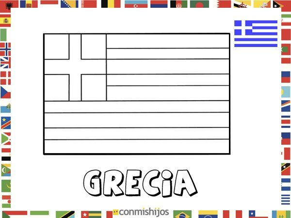 Bandera de Grecia Dibujos de banderas para pintar  banderas