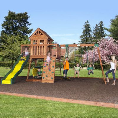 Backyard Discovery Cedar View Swing Set the cedar view swing set from backyard discovery starts out with a