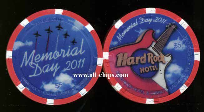 #LasVegasCasinoChip of the day is a $5 Hard Rock Memorial Day 2011 you can get here http://www.all-chips.com/ChipDetail.php?ChipID=13534 #CasinoChip #LasVegas #MemorialDay
