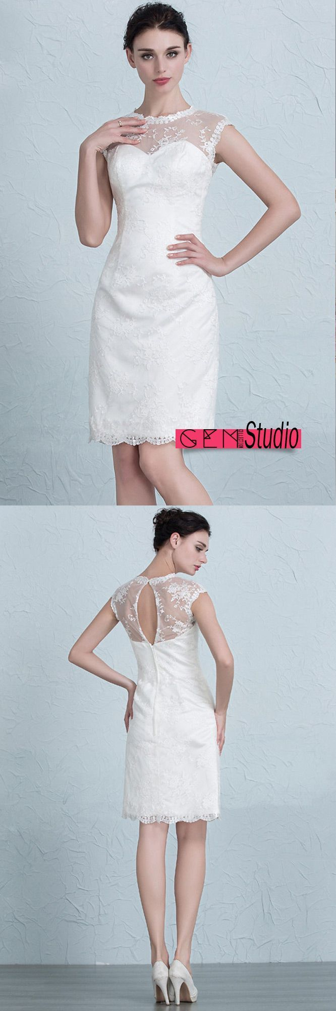 Elegant Tight Short Wedding Dresses Reception Modest Lace Style ...