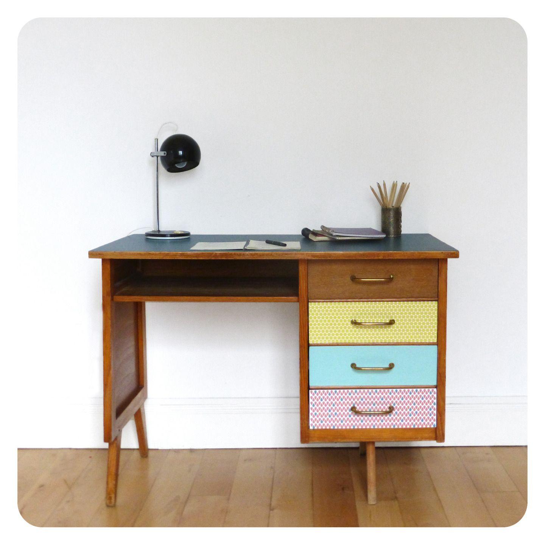 Bureau Vintage Revisit Tout En Couleur Meubles Et Rangements  # Une Table A Tv