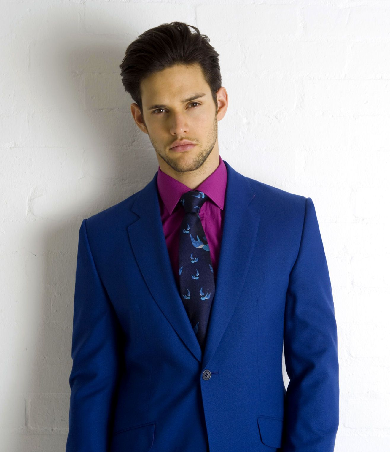 suit and tie for men | Electric Blue Suit Shirt & Tie from Marc ...