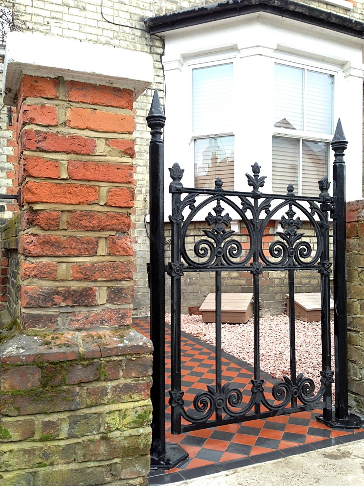 Cast Iron Gate Brick Wall Black And Red Victroian Mosaic Surbition