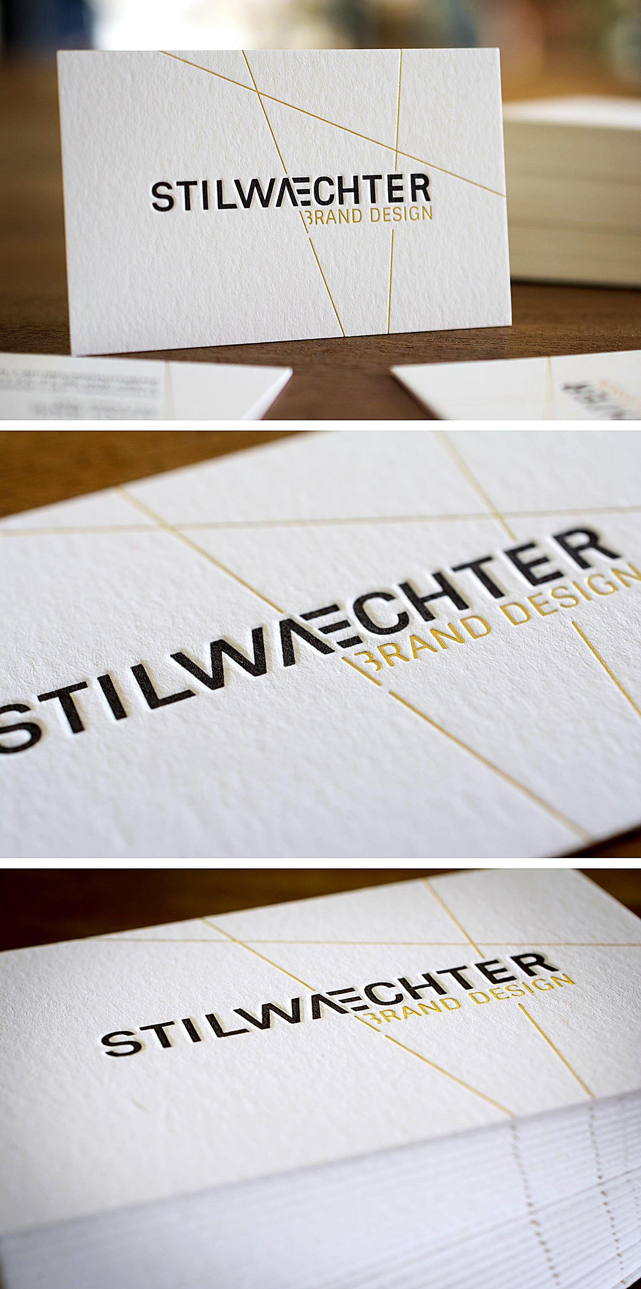 letterpress business card stilwaechter brand design with hot foil