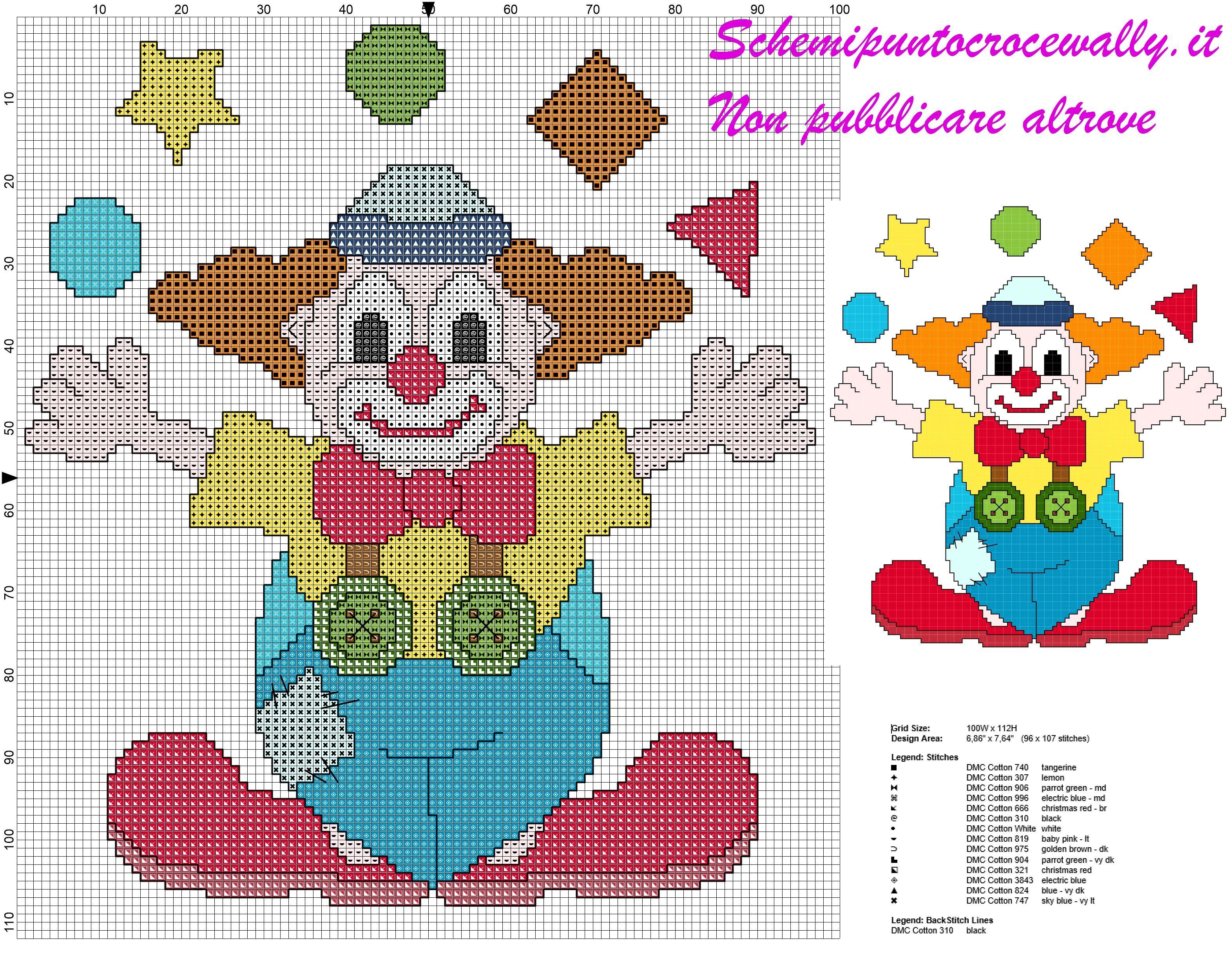 Schema punto croce gratis per bambini pagliaccio for Ricamo punto croce bambini