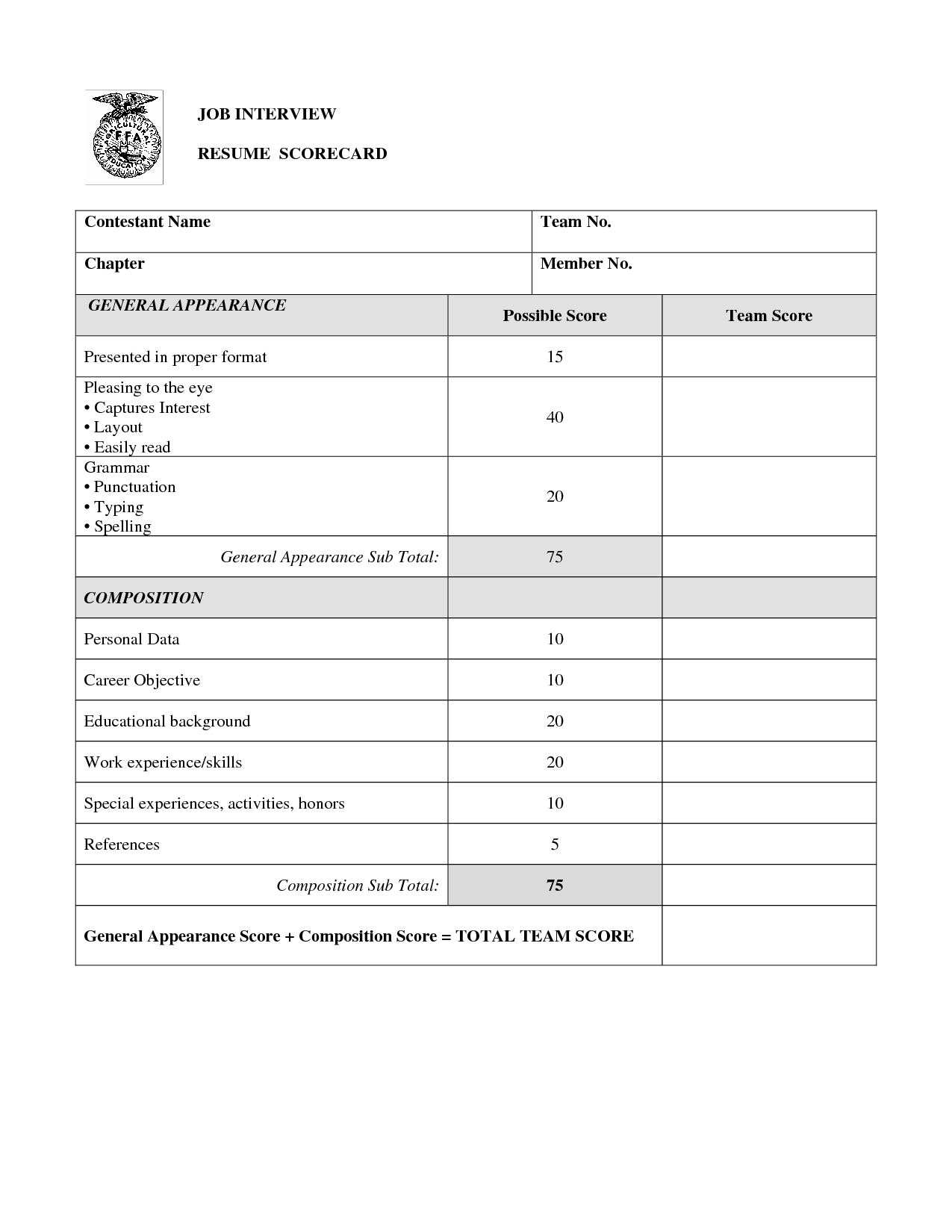 job interview scorecard template repin to library learning - Resume For Interview Sample