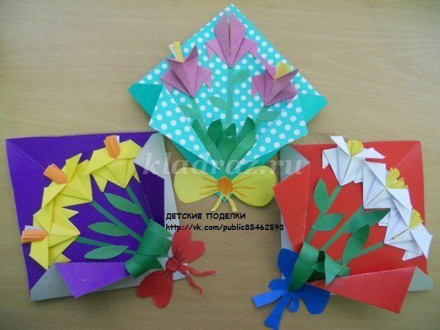 3D открытка с цветами Мастер-класс своими руками