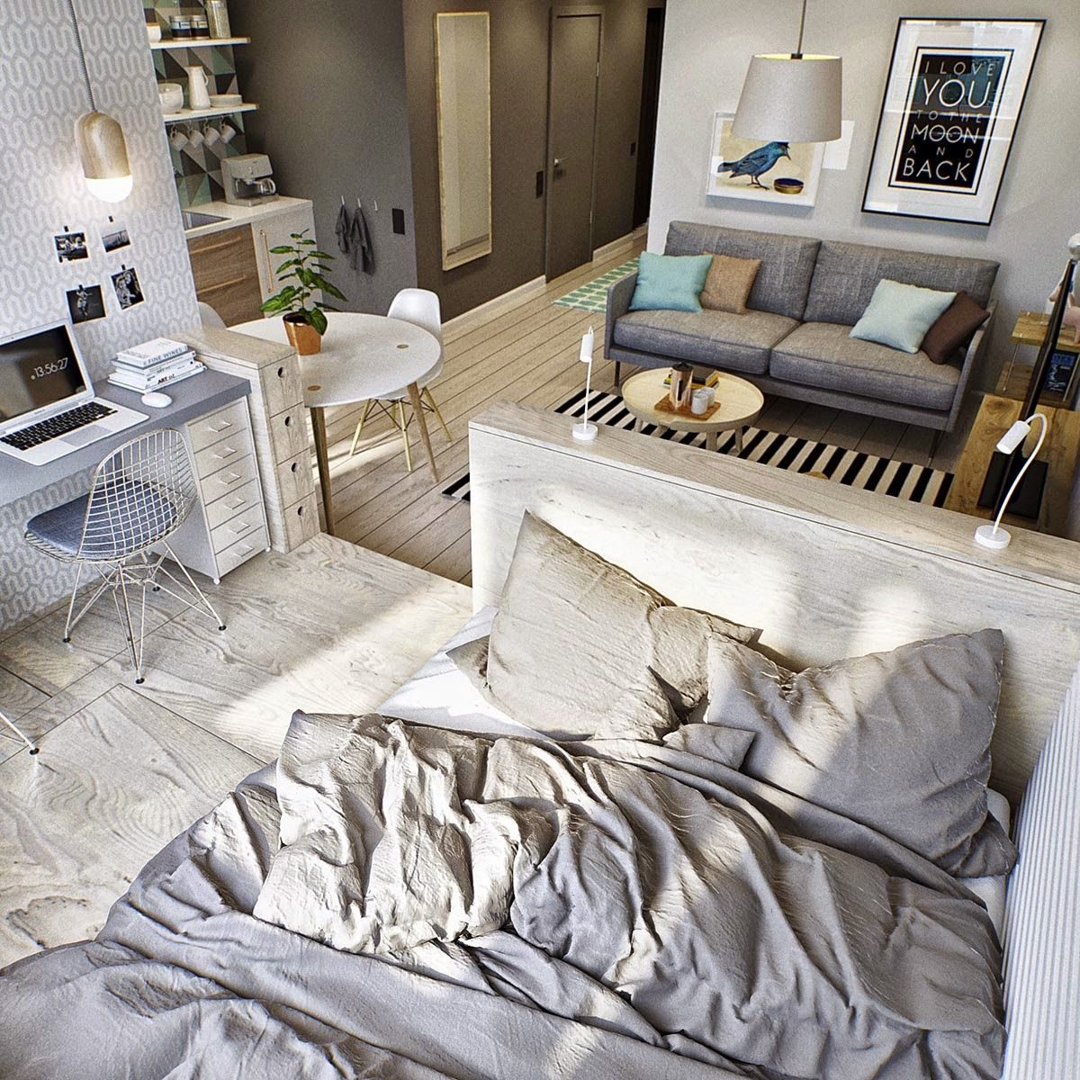 Amenagement Appartement 1 Piece dreamy and functional 40 square maters apartment (daily