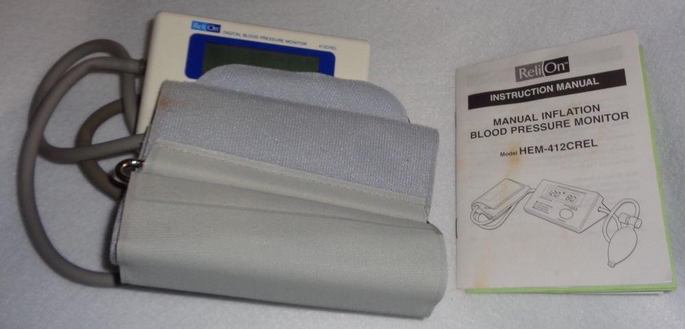 Relion Manual Inflate Digital Blood Pressure Monitor Model Hem