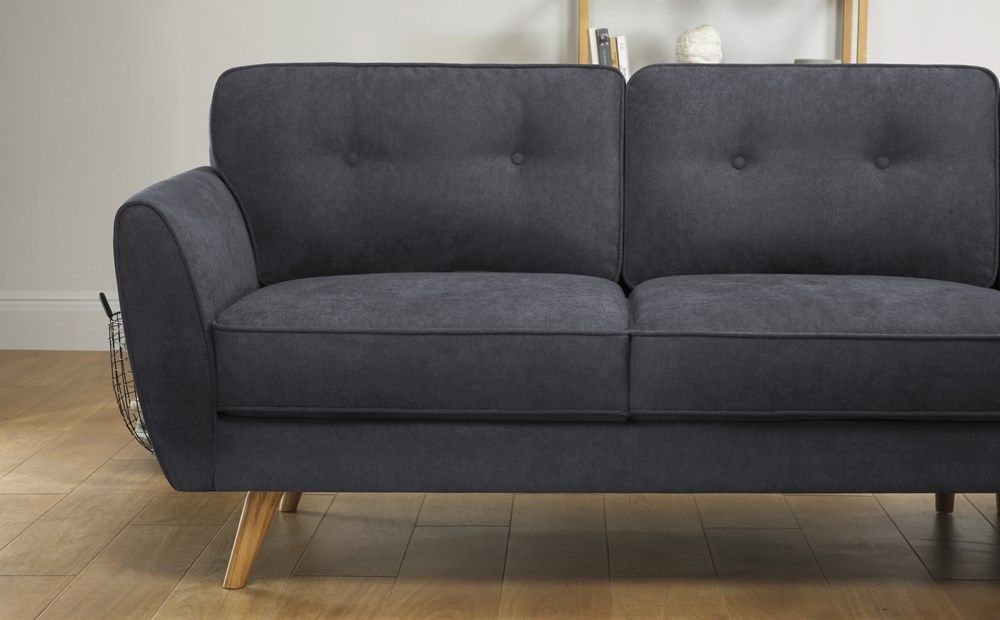 Harlow Slate Grey Plush Fabric L Shape Corner Sofa Rhf Corner Sofa Furniture Choice Grey Leather Sofa