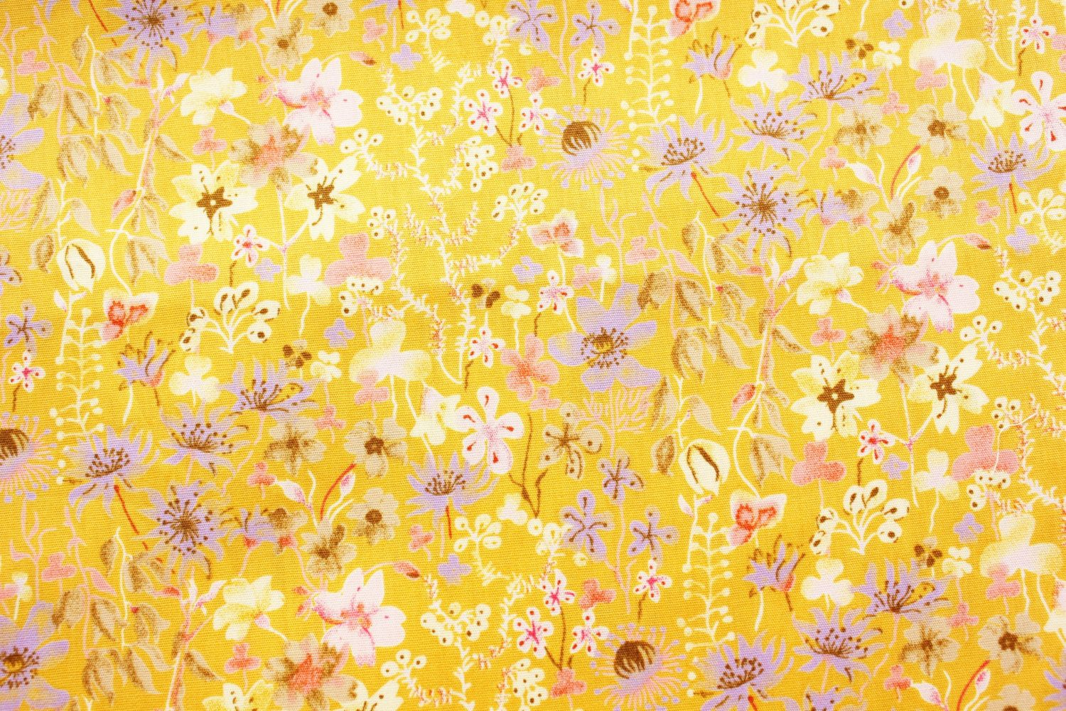 Floral Fabric, Cotton Fabric, Quilting Fabric, Modern design, Mustard Yellow, Sewing, Material, Supplies, Half Metre by TwoChubbyRabbits on Etsy