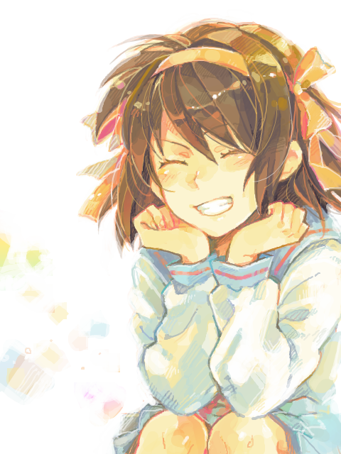 1girl artist_request brown_hair chin_rest closed_eyes grin
