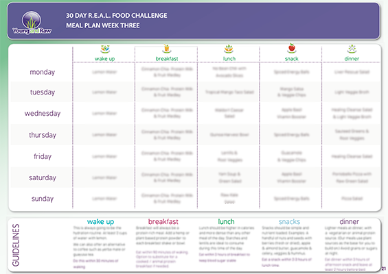 30 Day R E A L Food Meal Plans Raw Food Diet Plan Raw Food Diet Meal Planning