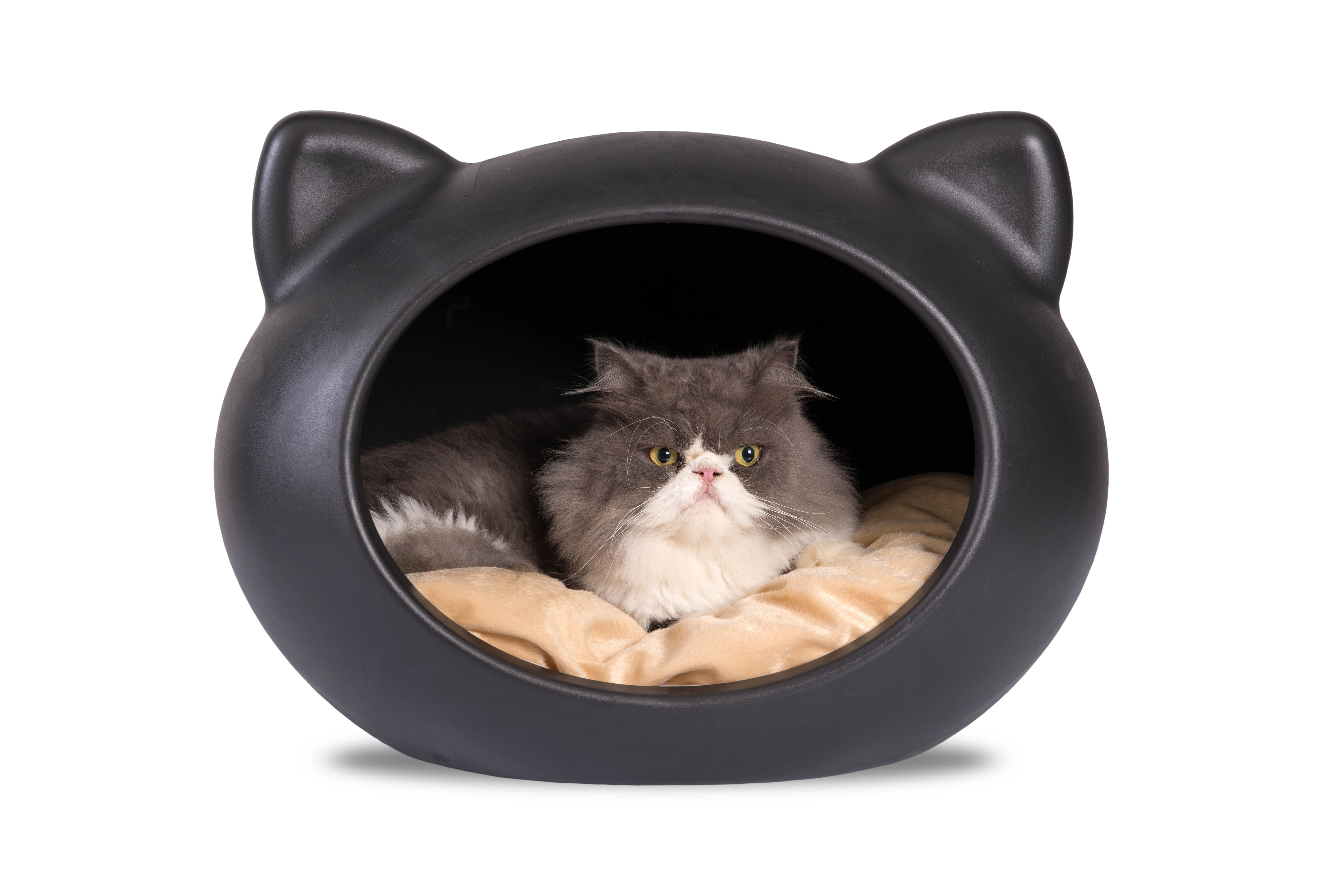 Guisapet Cat Bed. Black Cat Cave with Beige Cushion.