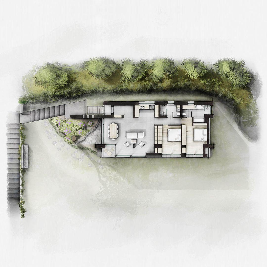 Kolorierter Grundriss einer Villa in Italien am Gardasee
